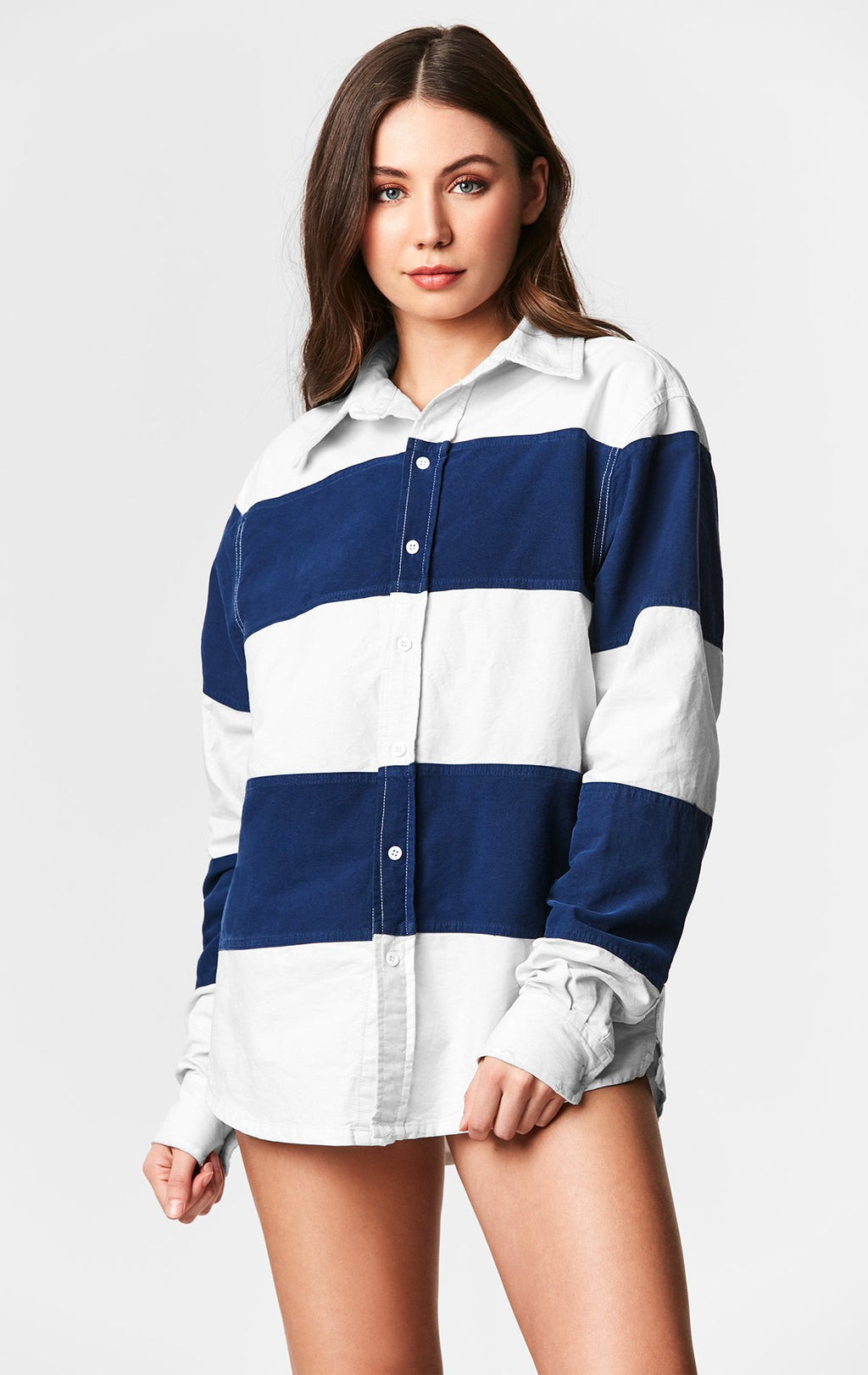 STONEWASHED WIDE STRIPE SHIRT WITH GRINDING