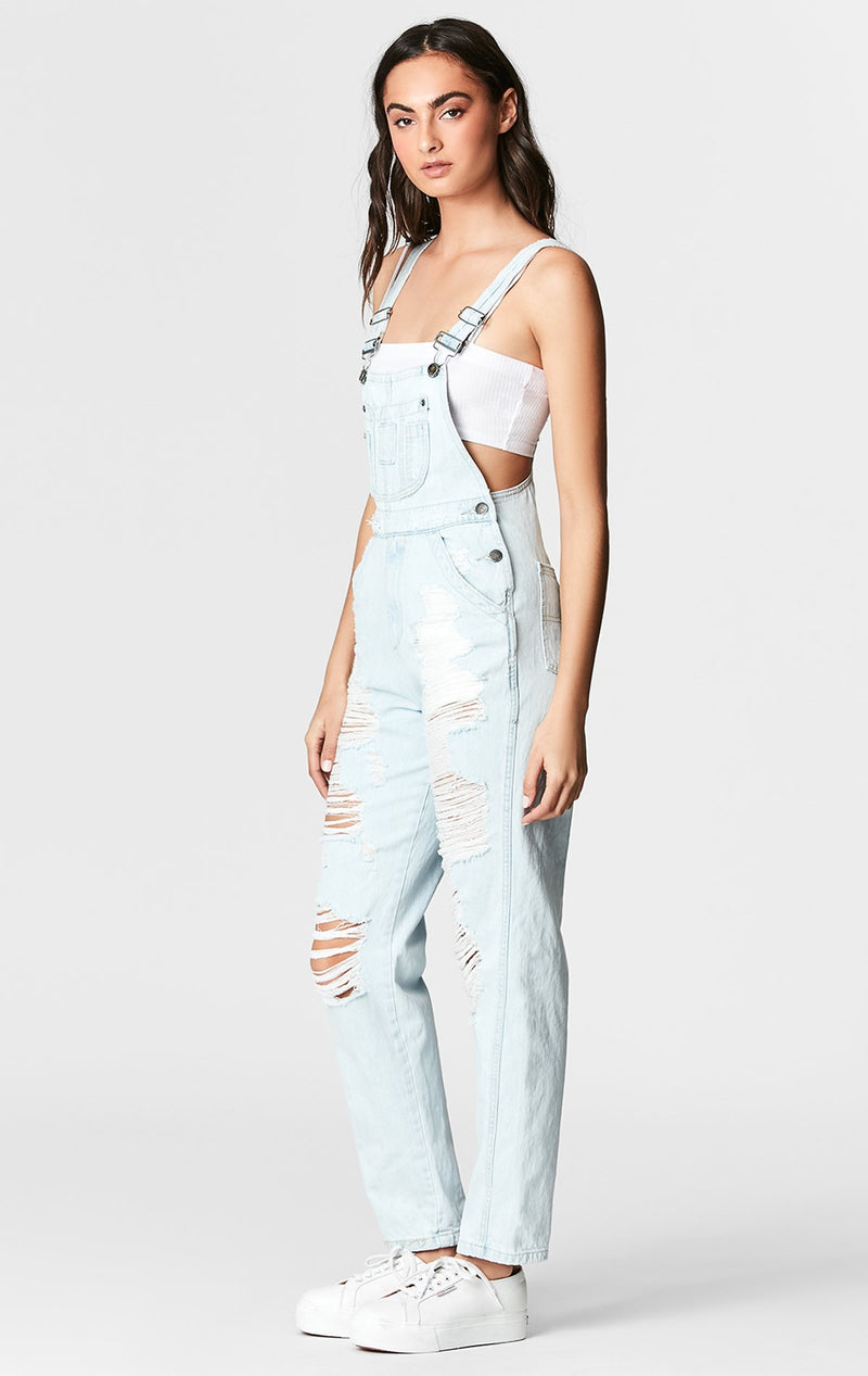 NYSA LIGHT WASH SHREDDED DENIM OVERALLS