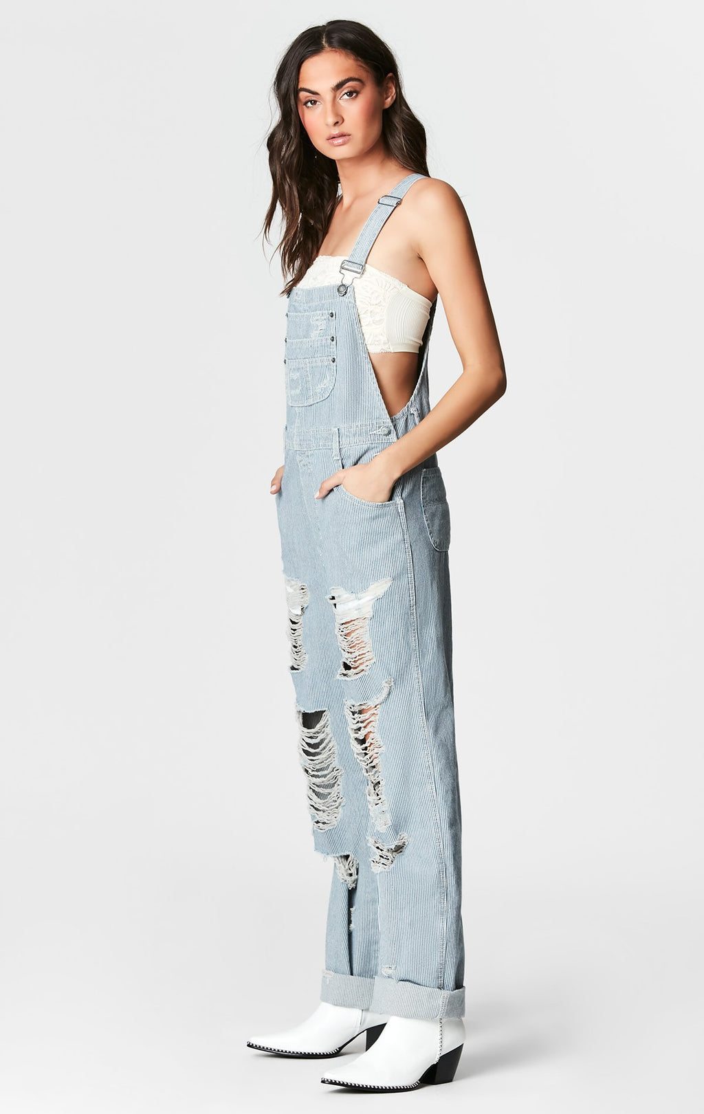RAILROAD STRIPE BAGGY OVERALL