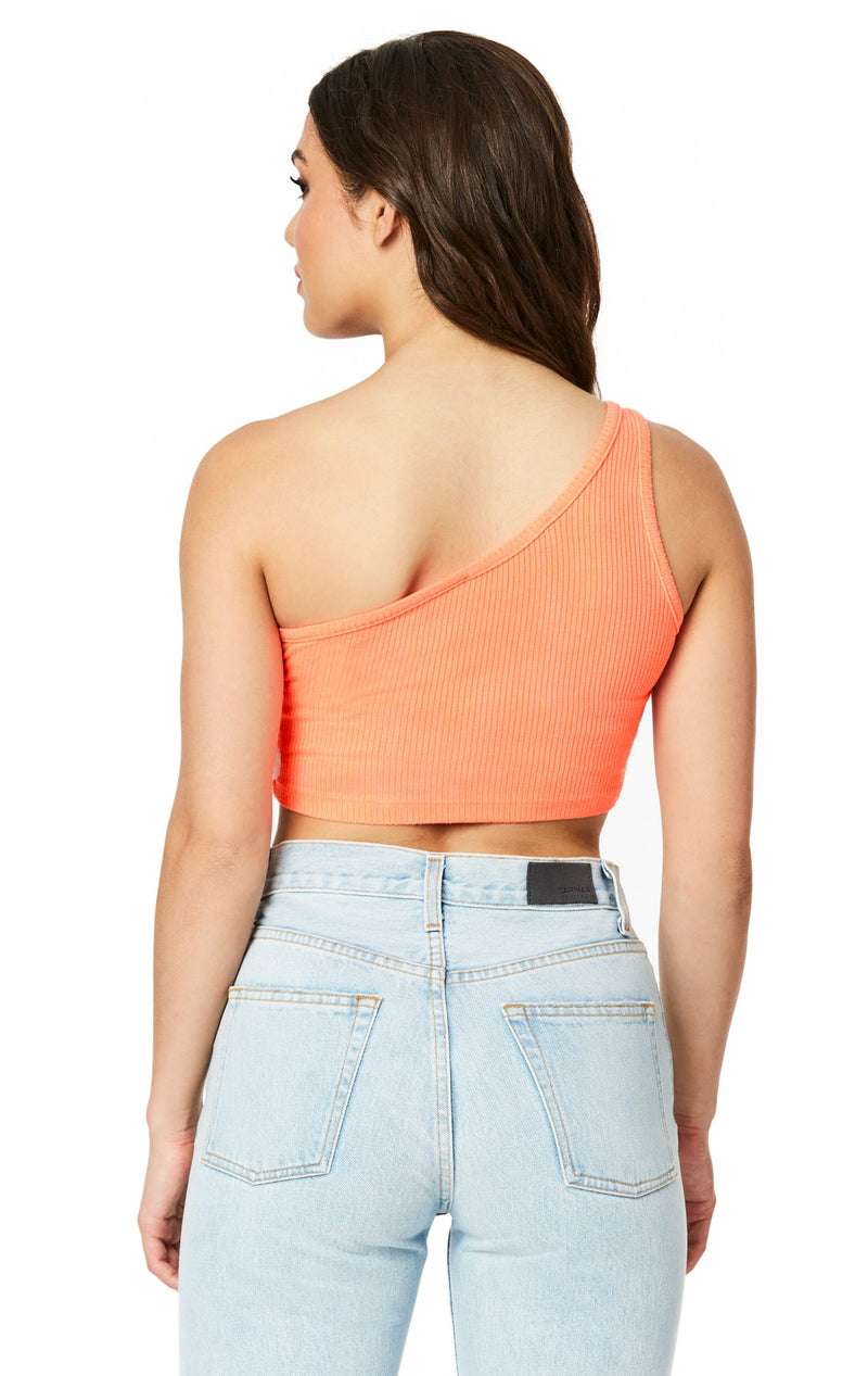 Emma & Sam: NEON ONE SHOULDER CROP TANK - NOVELTY TANK
