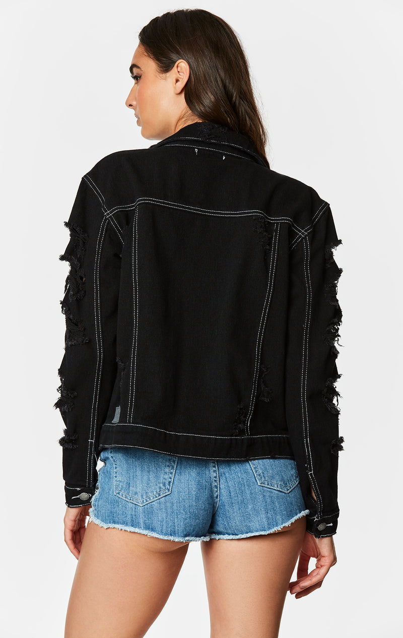OVERDYE BLACK OTHELLO SHREDDED DENIM JACKET