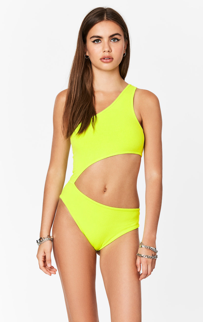 EMMA AND SAM NEON ONE SHOULDER CUT OUT BODYSUIT FULL BODY