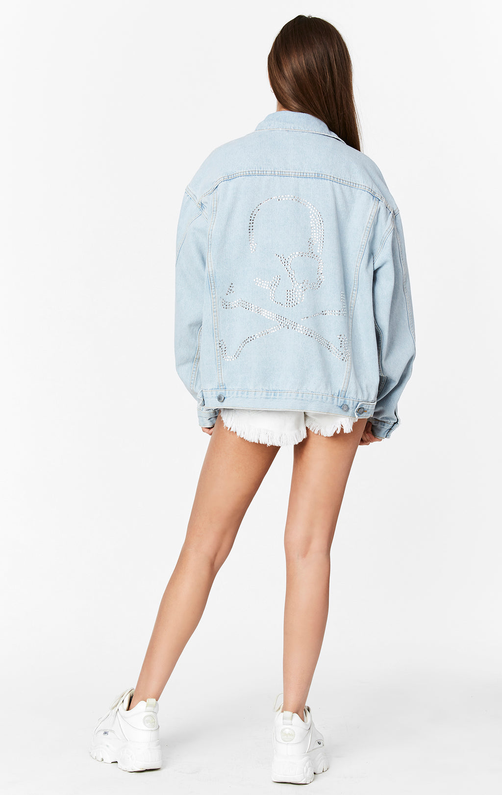 RHINESTONE SKULL AUDREY OVERSIZED DENIM JACKET