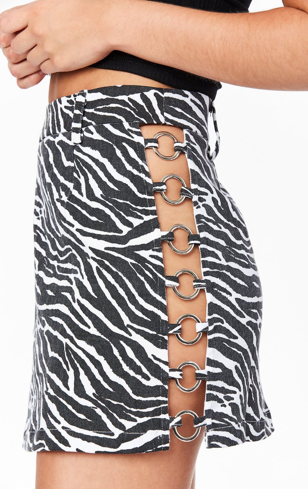 ZEBRA SKIRT WITH EXPOSED O-RING DETAIL
