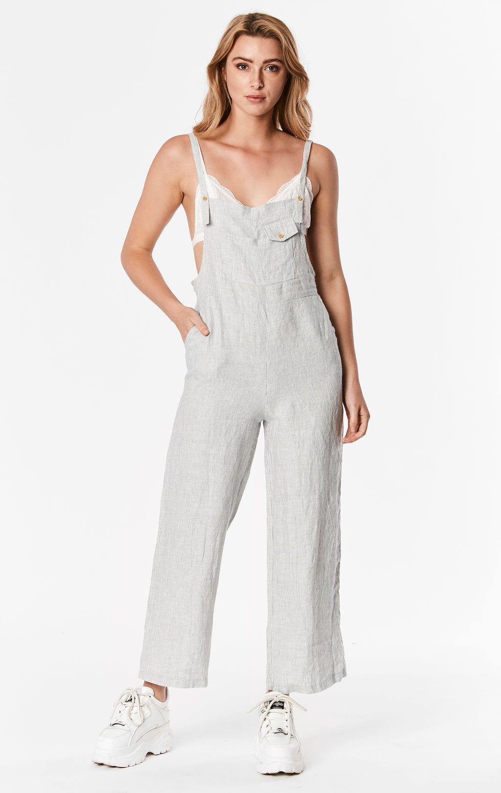 STRIPED LINEN OVERALL