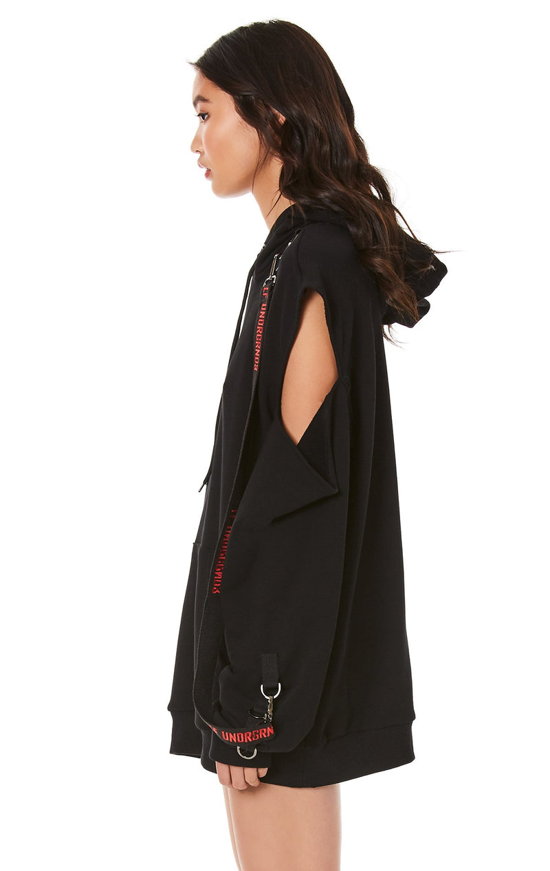CUTOUT SHOULDER HOODIE WITH LONG SUSPENDERS SIDE