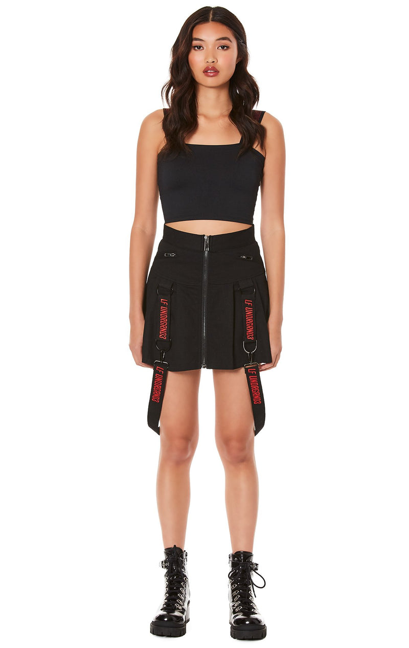 PLEATED ZIP FRONT SKIRT WITH SUSPENDERS FULL FRONT