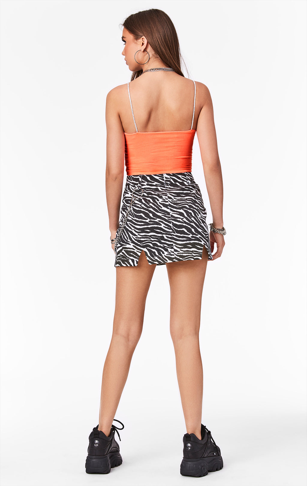CARMAR DENIM ZEBRA PRINT SKIRT WITH CHAIN BACK