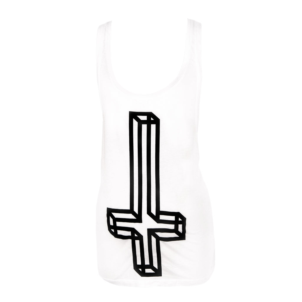 Geometric Inverted Cross White Tank
