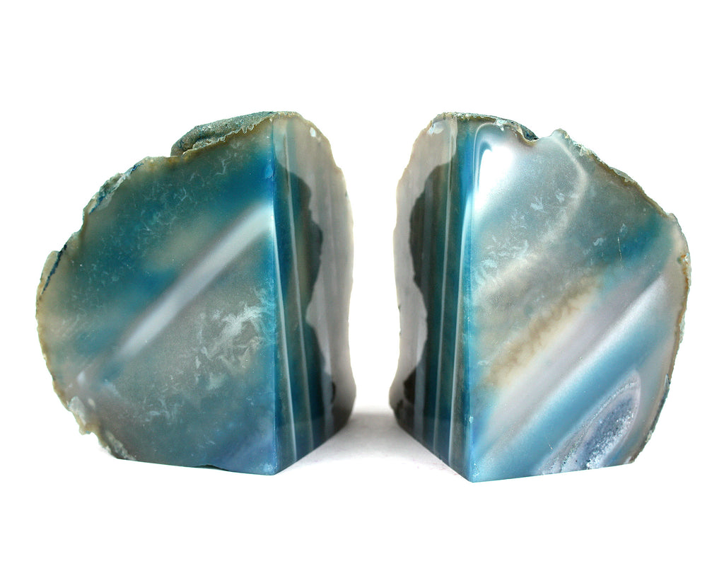 "5.5"" Agate Geode Bookends from Brazil - Teal"