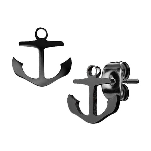 20G Pair of Hand Polished Anchors 316L Stainless Steel Earring Studs - FIFTHCUE.COM