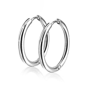 20G Hinge Action Seamless Hoop Stainless Steel Earrings - FIFTHCUE.COM