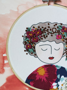 DIY Embroidery Kit, Anne in Burgundy