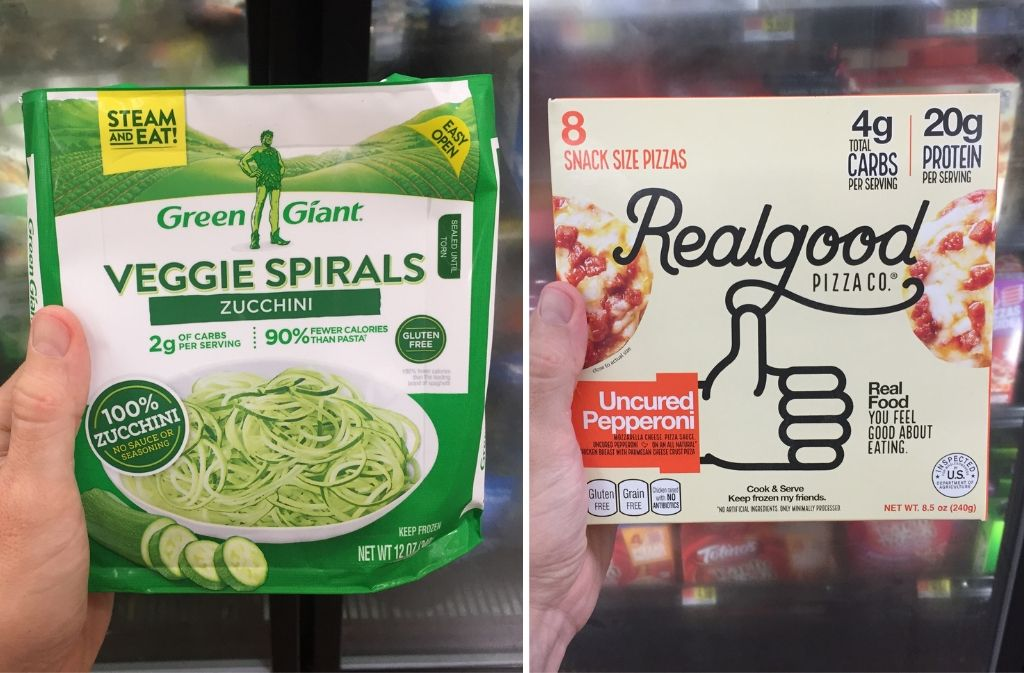 veggie zucchini spirals beside a box of realgood pizza co snack pizzas