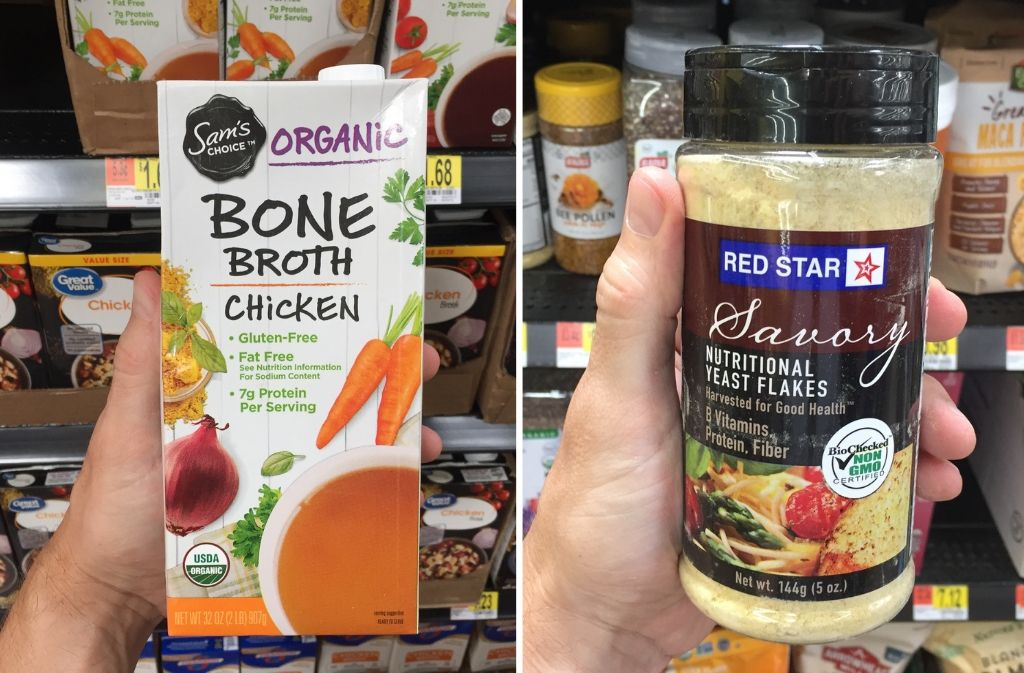 sam's club organic chicken bone broth carton next to a container of nutritional yeast flakes
