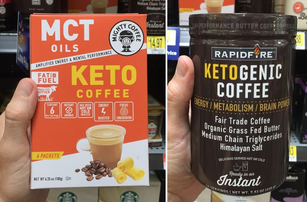 mighty coffee mct keto coffee box next to a rapid-fire ketogenic coffee container