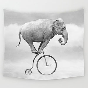 Comwarm Tapestry Elephant On Bike - tapestryleps