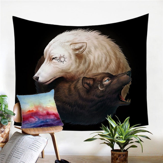Yin and Yang Wolves by JoJosArt Tapestry Black - tapestryleps