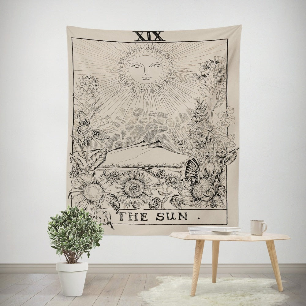 vintage european tapestry sun astrology - tapestryleps
