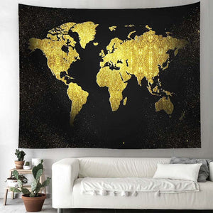World Map Tapestry Gold Continents - tapestryleps