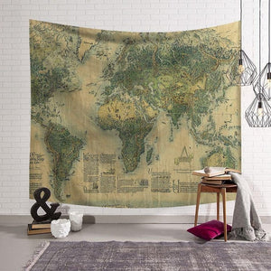 Nordic Vintage Tapestry World Map Green - tapestryleps