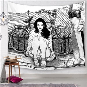 Morigins Boho Tapestry Bike Lady - tapestryleps