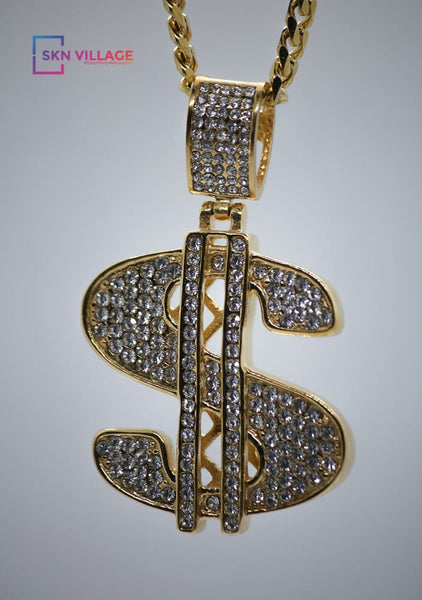 Gold Diamond Money Pendant