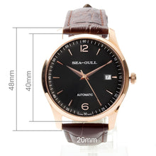 Load image into Gallery viewer, Seagull Gold Tone Black Dial Exhibition Back Automatic Watch D519.438 - seagull-watches