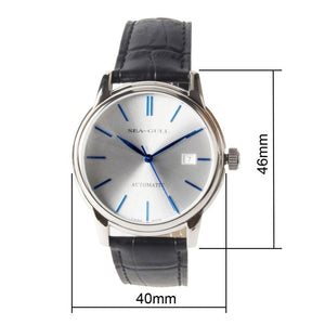 Seagull Blue Hands Silver Dial Automatic Dress Watch D819.616 - seagull-watches