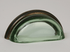 Transparent Green / Oil Rubbed Bronze Glass Bin Pull 3-3/4""