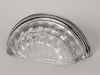 Transparent Clear / Polished Chrome Melon Glass Bin Pull 3-3/4""