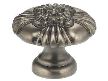 "1-1/8"" Diameter Omnia Floral Center Cabinet Knob Pewter- Lacquered"