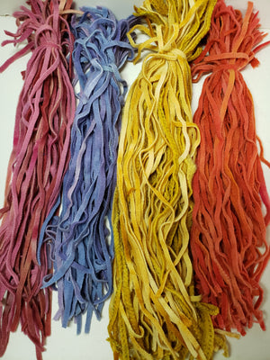 RSS149 - Hand Dyed #6 Wool Strips - Flower Shades