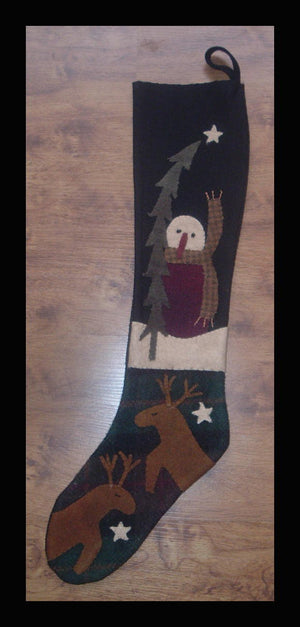 Prim Snowman Stocking Wool Applique Pattern