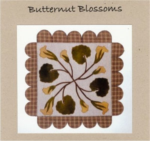 Butternut Blossoms Wool Applique Pattern - Wall Hanging or Table Runner