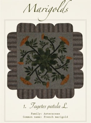 Marigolds Wool Applique Pattern - Wall Hanging or Table Runner
