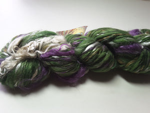 Hand Spun Yarn for Rug Hooking - My African Violets - OOAK