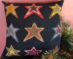 Stargazing Pillow -  Wool Applique Pattern