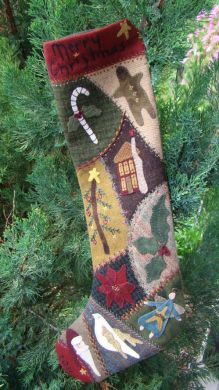 Crazy Wool Christmas Stocking -  Wool Applique Pattern