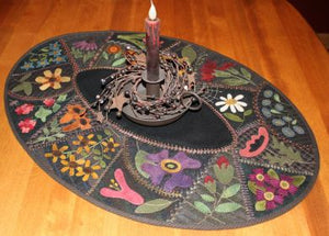 Flower Garden Crazy Table Mat -  Wool Applique Pattern