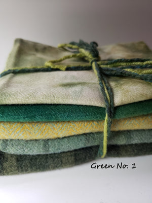 RSS146 - For the Love of Green - 1/2 Yard - 100% OOAK Wool Bundle for Rug Hooking or Wool Applique