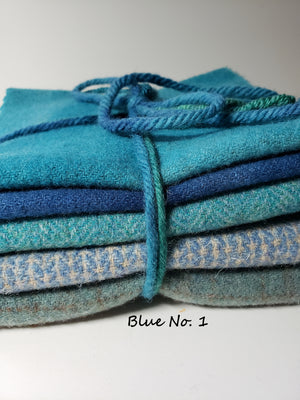 RSS147 - For the Love of Blue - 1/2 Yard - 100% OOAK Wool Bundle for Rug Hooking or Wool Applique