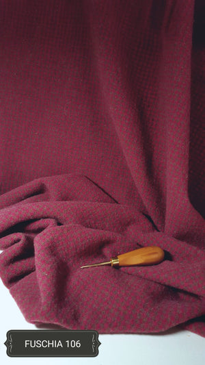 Fuschia #106 - Washed and Felted - Ready to use Wool Fabric for Rug Hooking or Wool Applique