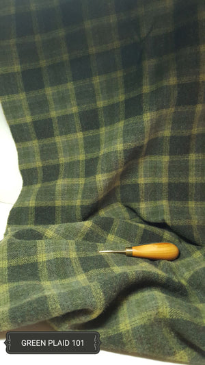 RSS101 - Green Plaid  - Washed and Felted - Ready to use Wool Fabric for Rug Hooking or Wool Applique