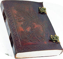 "Load image into Gallery viewer, Handmade Large 8"" Embossed Leather Journal Celtic two latches blue stone blank personal Diary notebook refillable journal gift (design 3)"