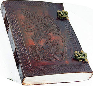 "Handmade Large 8"" Embossed Leather Journal Celtic two latches blue stone blank personal Diary notebook refillable journal gift (design 3)"