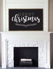 Load image into Gallery viewer, Merry Christmas Chalkboard Style Framed Wood Sign