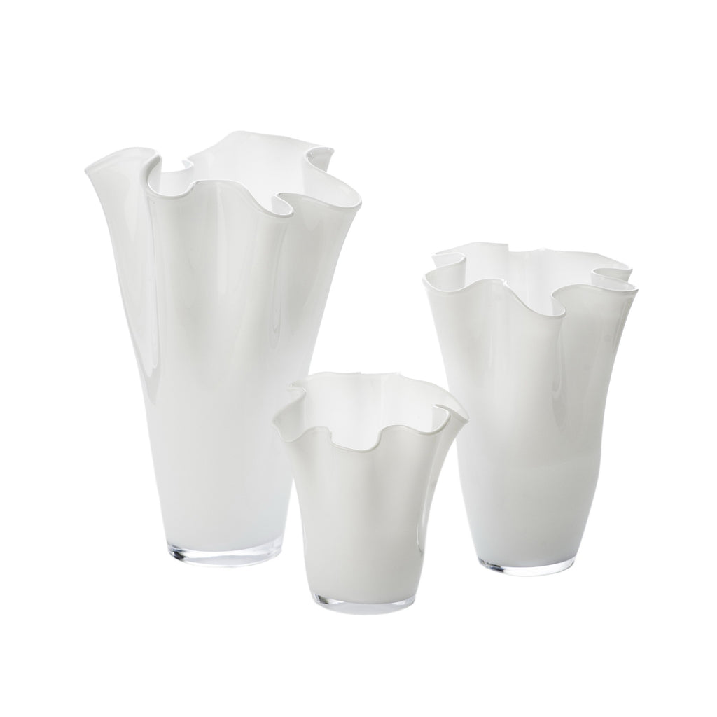 164573 Abigails Wholesale Home Décor Glassware Vases White Ruffle Vase, Small
