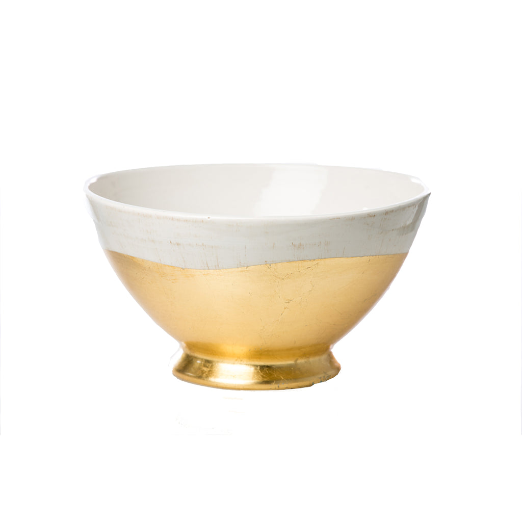 260108 Abigails Wholesale Home Décor Ceramics and Terra Cotta Compotes and Bowls Roma Collection Gold Wave Bowl Roma
