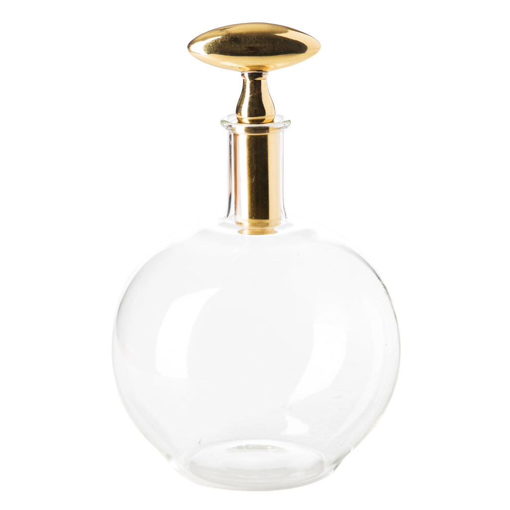 547408 Abigails Wholesale Tabletop Glassware Decanters Decanter with Brass Top Chalet